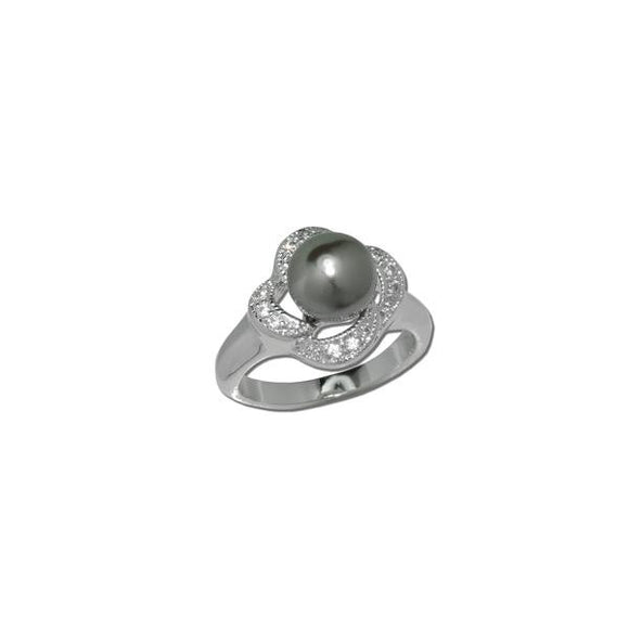 Gray Pearl Flower Ring