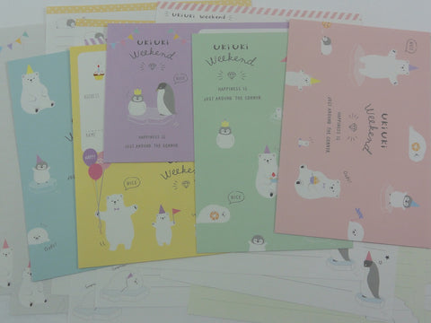 Crux Bear and Penguin Uki Weekend Letter Sets - Stationery Writing Paper Envelope