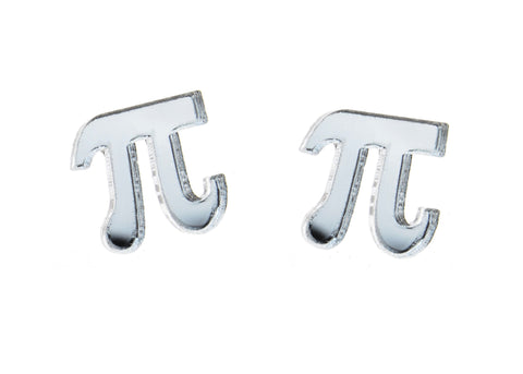 Pi Earrings in Mirror Silver