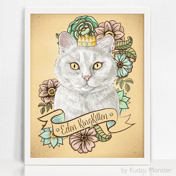 Custom Cat Portrait and art print - Kudzu Monster  - 1