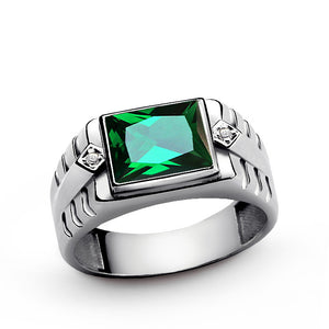 Green Emerald Gemstone Men's Ring Sterling Silver with Natural Diamonds - J  F  M