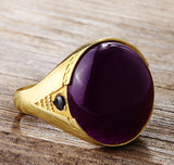 10k Yellow Gold Men's Ring with Purple Agate, Natural Stone Ring for Men - J  F  M