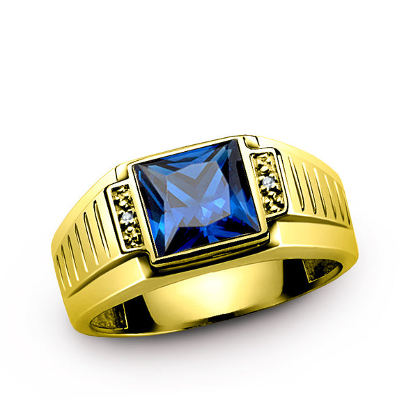 10K Gold Men's Ring with Blue Sapphire and Natural Diamonds - J  F  M