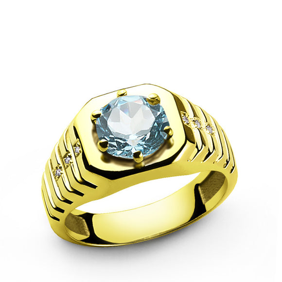 Diamonds Men's Ring in 10k Yellow Gold with Blue Topaz, Gemstone Ring for Men - J  F  M