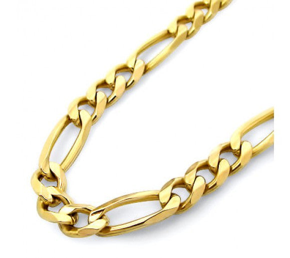18k Yellow Gold Filled Chain Necklace Sterling Silver Figaro Chain 18