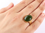 14k Yellow Solid Gold Artdeco Men's Ring with Green Agate Stone - J  F  M