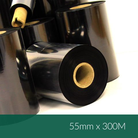 55mm x 300M Wax Resin Ribbon (B128-EXI05530)