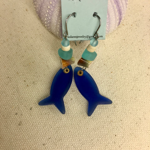 Solares Sea Glass Earrings- Cobalt Blue Fish
