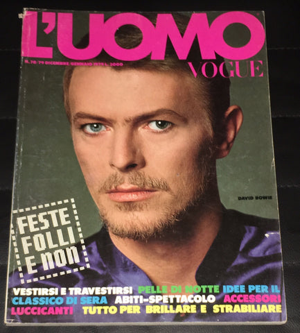 L'UOMO VOGUE Magazine DAVID BOWIE Amanda Lear BRUCE WEBER Vintage Men's Fashion
