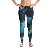 Big Wave Print Leggings - Devious Elements Apparel