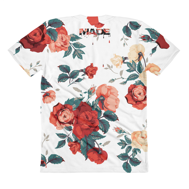 Biggie Floral Roses All-Over-Print Ladies Crew T-shirt - Devious Elements Apparel