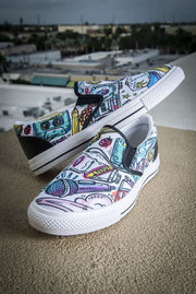 Funky Culture Pattern Print Canvas Ladies Slip On Low-Top Sneaker - Devious Elements Apparel