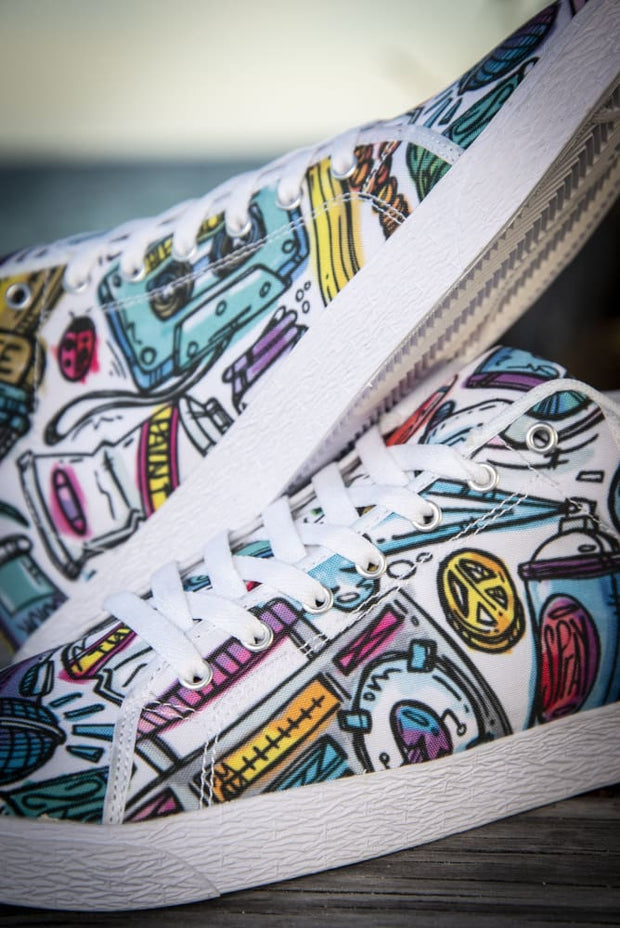 Funky Culture Pattern Canvas Mid Top Men's Sneaker - Devious Elements Apparel