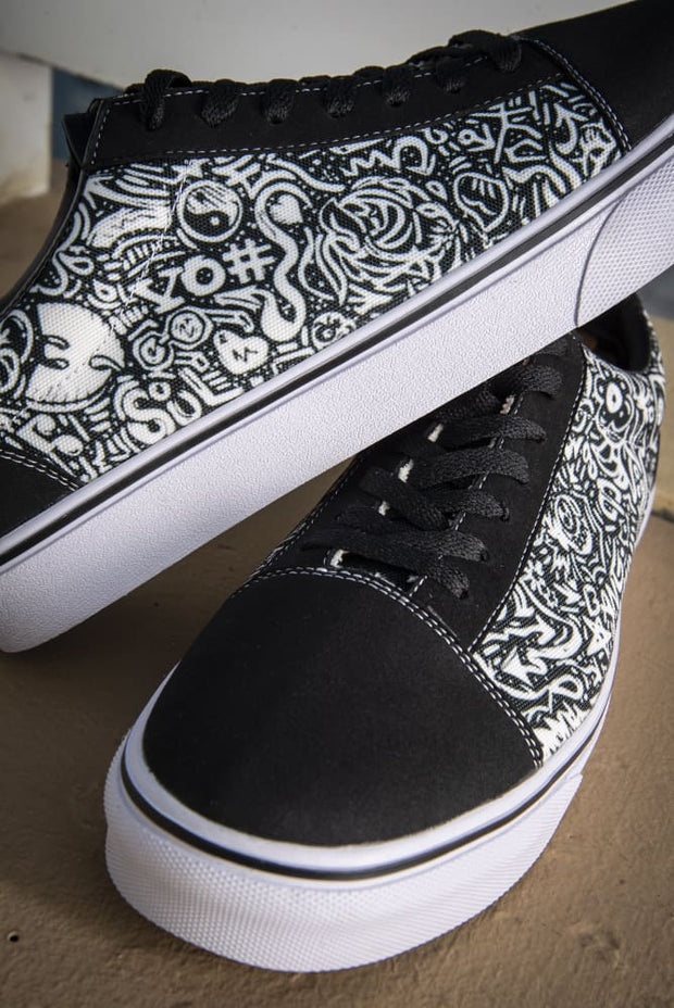Devious Doodle Print Men's Low Top Skate Sneaker - Devious Elements Apparel