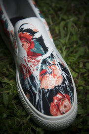 Biggie Floral Print Canvas Ladies Slip On Low-Top - Devious Elements Apparel