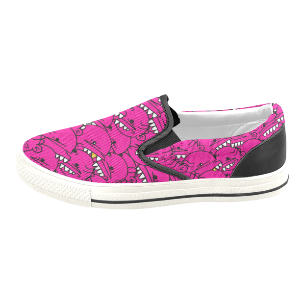 Goop Heads Solid Pattern Ladies Canvas Slip On Sneaker - Devious Elements Apparel