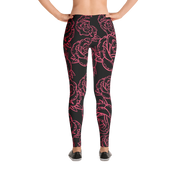 Roses Are Red Floral Pattern Print Leggings - Devious Elements Apparel