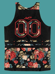 Loyalty Roses & Skulls Floral All-Over-Print Sport Tank - Devious Elements Apparel