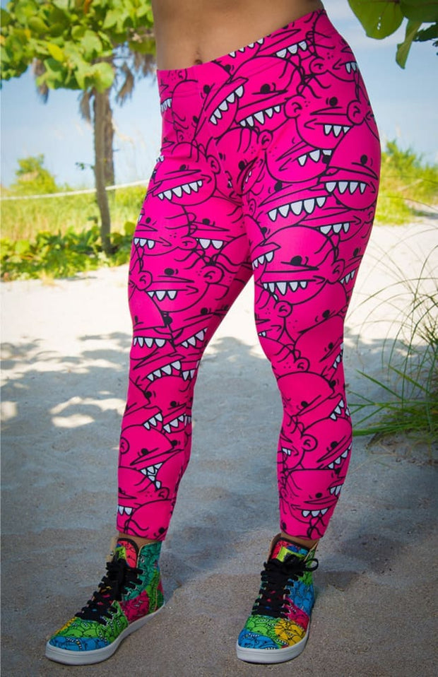 Goop Heads Solid Pattern Print Leggings - Devious Elements Apparel