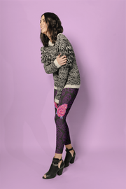Rose Purple Floral Pattern Print Leggings - Devious Elements Apparel