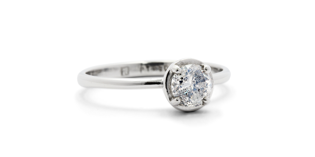 Cati Ring / Salt + Pepper Diamond - ENGAGEMENT - <meta char - Fitzgerald Jewelry - Handmade in Williamsburg, Brooklyn, NYC