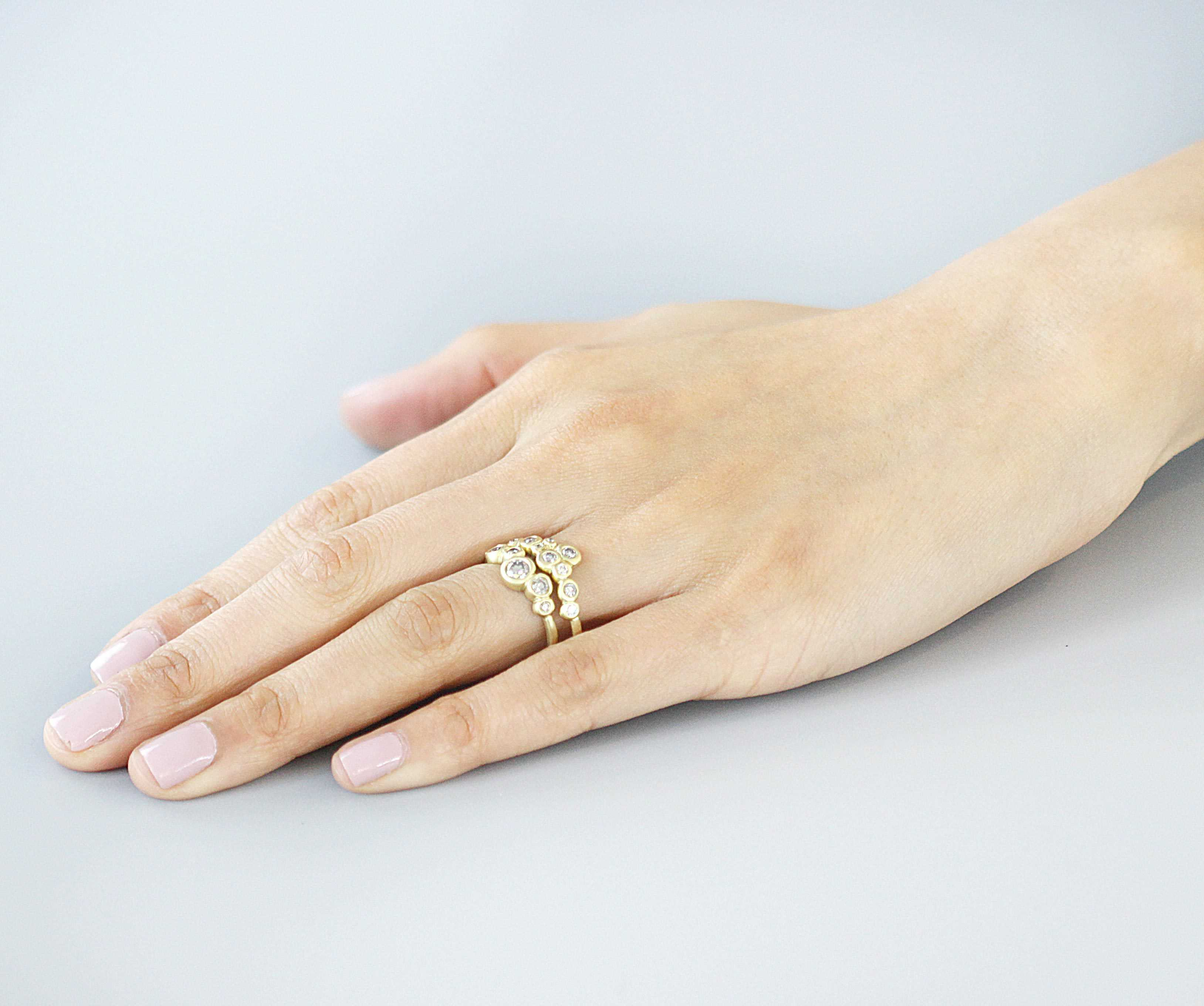 Bubble Ring 1 / White Diamonds - Bubble - <p>5 White - Fitzgerald Jewelry - Handmade in Williamsburg, Brooklyn, NYC