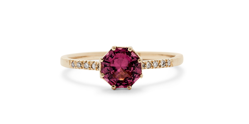 Pave Octagon / Rhodolite Garnet - pave - <meta char - Fitzgerald Jewelry - Handmade in Williamsburg, Brooklyn, NYC
