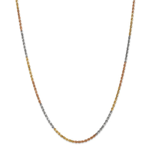 14k Tri-Color 2.5mm D/C Rope Chain