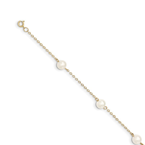 14K 6-7mm White Near Round Freshwater Cultured Pearl 6-station Anklet