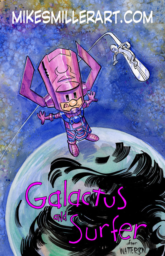Galactus and Surfer Calvin and Hobbes 11x17 art print