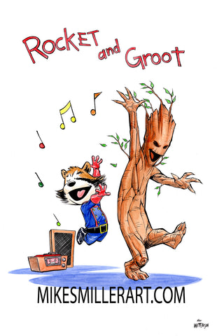 Rocket and Groot Dancing Calvin and Hobbes Homage 11x17 art print