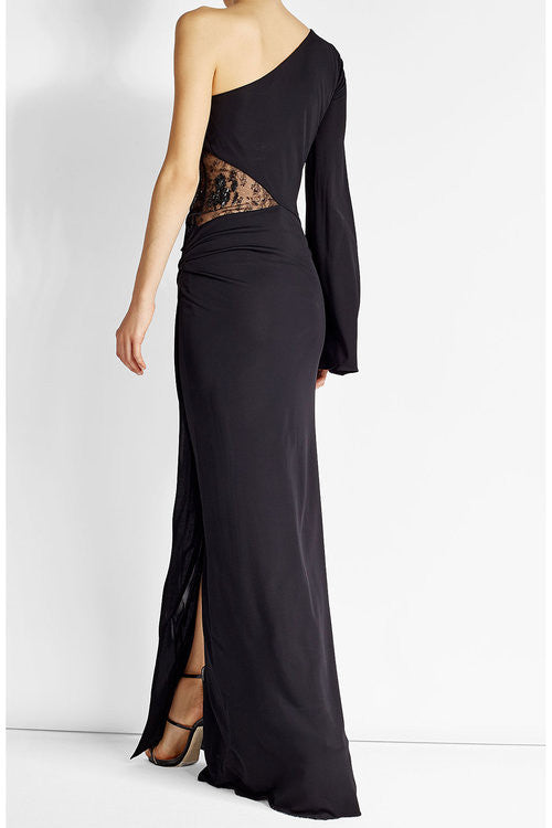 Roberto Cavalli Asymmetric Sleeve Lace Detail Gown