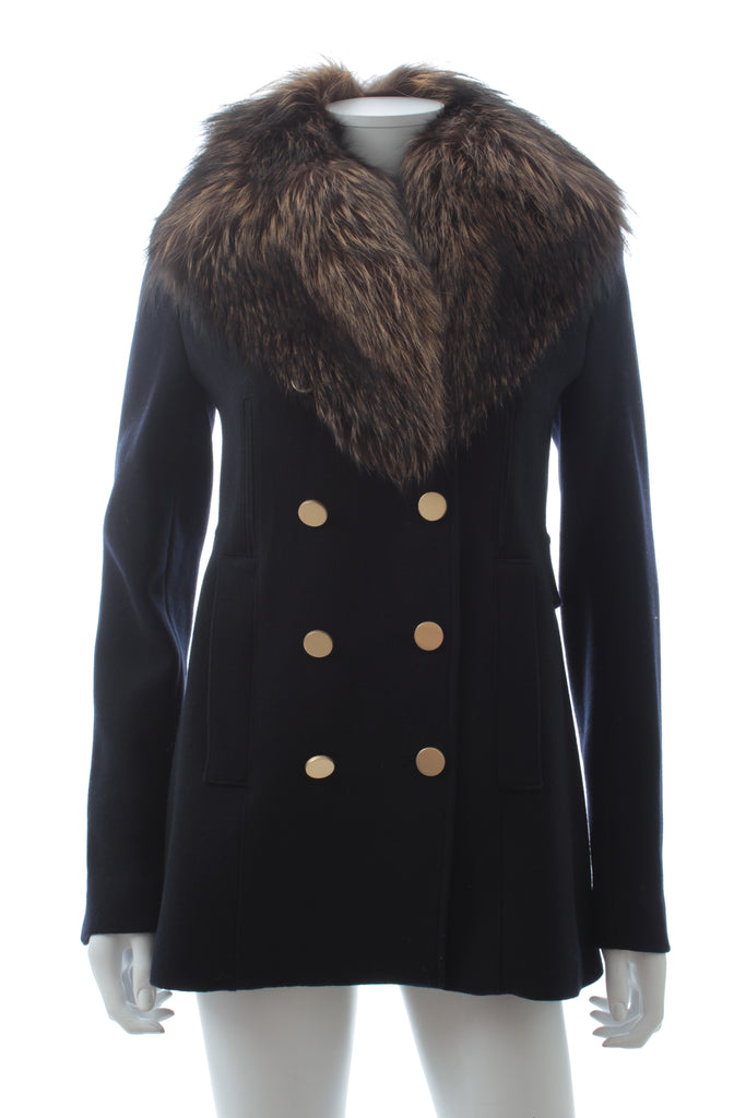 Theory Overby Belmore Fox Fur Collar Virgin Wool Coat