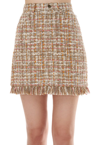 Luann Tweed Skirt in Neutral Lurex