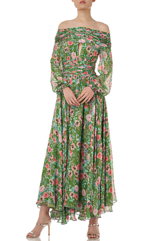 Raven Dress in Green Floral