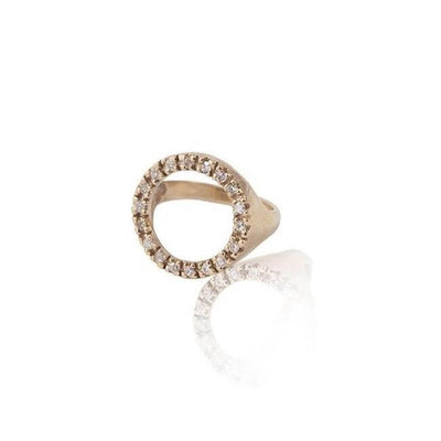 14K Gold with diamonds Circle Ring by Cristina Ramella