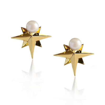 Compass Pearl Earrings by Cristina Ramella