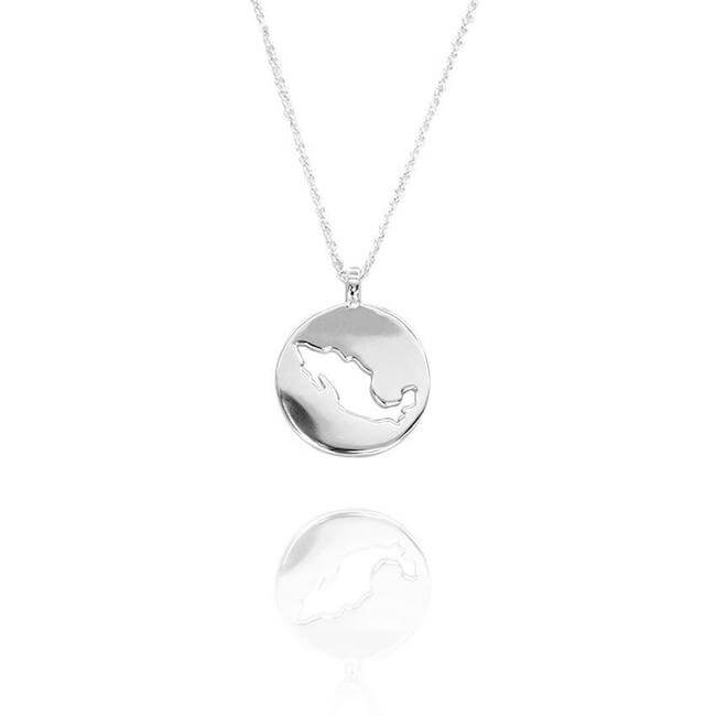 Rhodium Plated World Mexico Necklace by Cristina Ramella