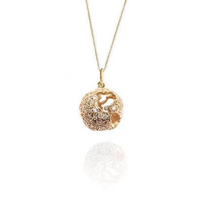 14K Gold and Diamonds World Globe Necklace by Cristina Ramella