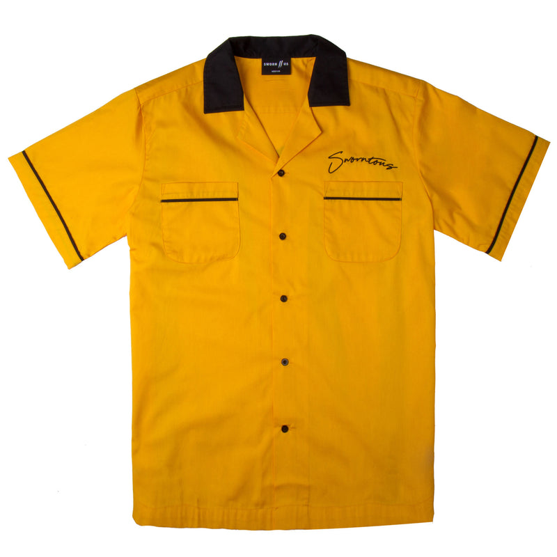 Sworn Script Bowling Shirt // Yellow