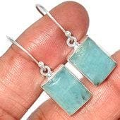 Aquamarine Earrings sterling silver - Aquamarine Earrings - aquamarine stone - crystal earrings silver aquamarine crystal earrings - 194