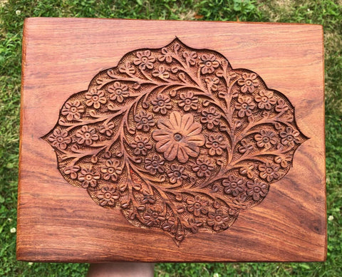 Floral Carved Wooden Box - 8