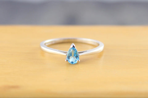 White Gold Blue Topaz Teardrop Ring