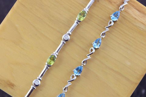 Peridot & Diamond White Gold Bracelet