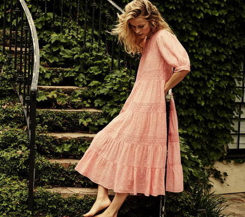 pink embroidered cotton pin tucked half sleeve maxi dress dôen