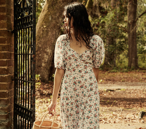 white floral print cotton puff sleeve maxi dress dôen