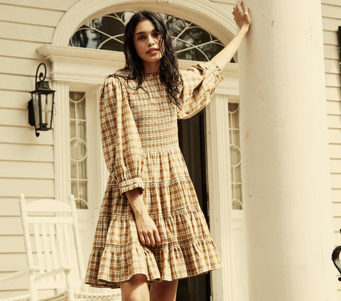 blue and gold plaid long sleeve cotton tiered skirt mini dress dôen