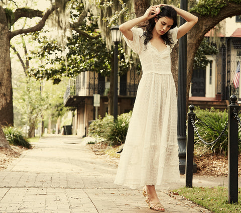 white cotton embroidered puff sleeve maxi dress dôen