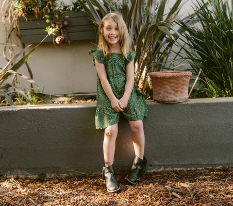 LILY DRESS -- GREEN MARTHA'S GARDEN PRINT
