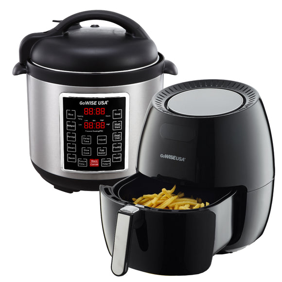 5.8-Quart 8-in-1 Digital Touchscreen Air Fryer (Black) + 10-in-1 Electric Pressure Cooker - GoWISE USA